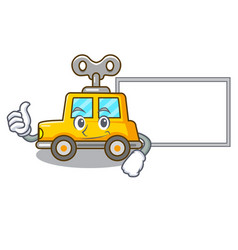 Thumbs up with board character clockwork car for vector