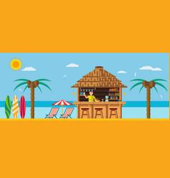 tropical beach with a bar on beach vector image