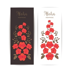 Tropical cards with hibiscus flower vector