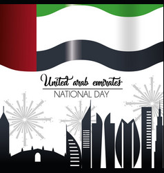 Uae flag with building and firewords celebration vector