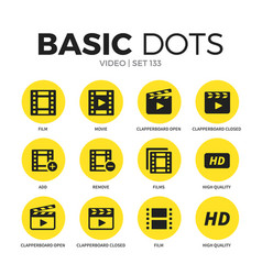 Video flat icons set vector