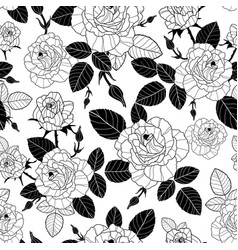 Vintage black and white roses and leaves vector