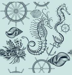 vintage seamless wallpaper pattern with sea vector image