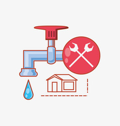 Water tap with home repair icons vector