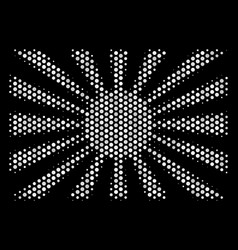 White halftone japanese rising sun icon vector