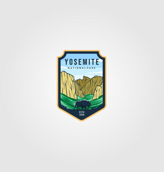 wild bison on yosemite national park logo outdoor vector image