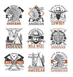 Wild west cowboy american indians icons vector