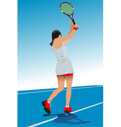 Woman tennis player poster colored vector