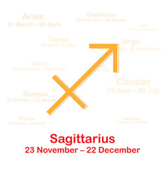 Zodiac sign sagittarius on white vector