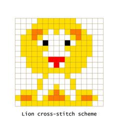 cross-stitch pixel art lion animal set vector image