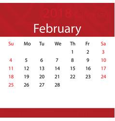 february 2018 calendar popular red premium for vector image