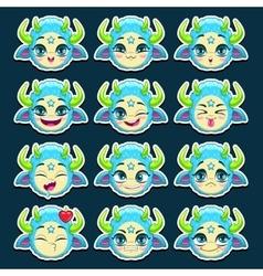 Funny cartoon blue monster emotions set vector image vector image