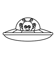 martian flying in the ufo vector image