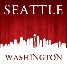 Seattle Washington city skyline silhouette vector image