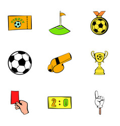 soccer field icons set cartoon style vector image