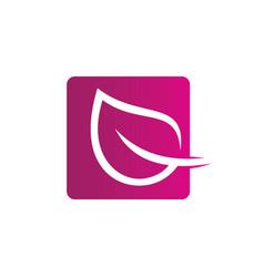 square leaf ecology logo image vector image