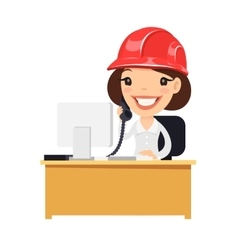 Female construction support character at her desk vector