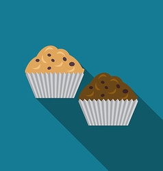 Flat design muffins icon with long shadowFlat vector image vector image
