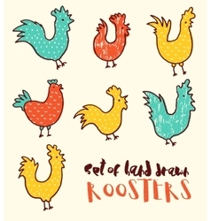 Funny doodle of roosters drawn vector