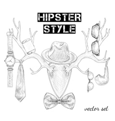 Hand drawn hipster style accessory set vector image vector image