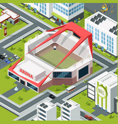isometric urban landscape with modern building of vector image vector image