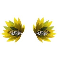 Photorealistic eye artistic feather makeup close vector