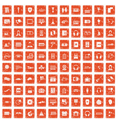 100 headphones icons set grunge orange vector image vector image