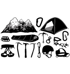 climbing equipment collage vector image vector image