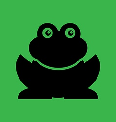 Flat frog on green background vector