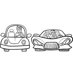 malicious driver cartoon coloring page vector image vector image