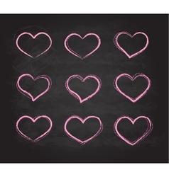 Retro scribble grunge chalk heart symbols vector image vector image