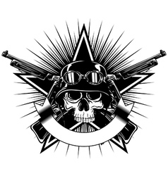 skull in goggles and helmet star and crossed vector image vector image