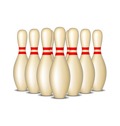 bowling pins with red stripes standing in formatio vector image vector image