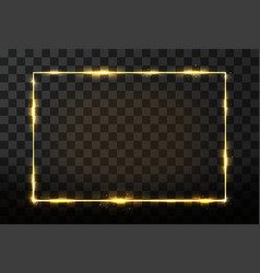 golden frame with glow effect neon rectangle vector image vector image