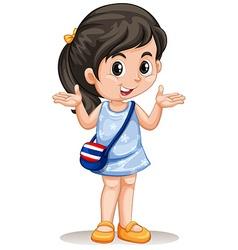 Little asian girl with handbag vector image vector image