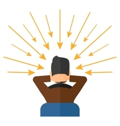 Man with arrows poinded to his head vector image