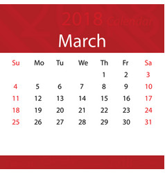 march 2018 calendar popular red premium for vector image vector image