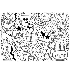 0085 hand drawn party doodle happy birthday vector