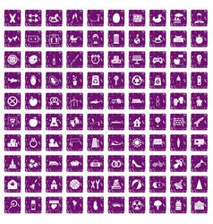 100 maternity leave icons set grunge purple vector