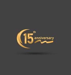 15 years anniversary logotype with double swoosh vector