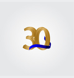 30 years anniversary celebration number gold vector