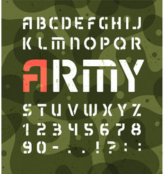 Army alphabet stencil military font with numbers vector