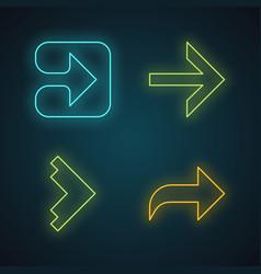 Arrow types neon light icons set forward right vector