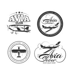 Aviation airplane badges logos emblems vector image