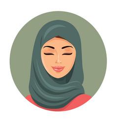 Beautiful muslim arab woman portrait in green vector