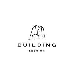 building logo icon line outline monoline vector image