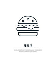 burger line icon fast food symbol liner style vector image