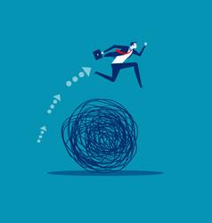 Businessman avoiding trouble concept business vector