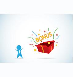 Businessman open gift box to get bonus vector