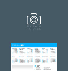 calendar design template for 2019 year week vector image